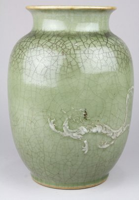 Chinese Celadon Crackle Glaze Dragon Vase