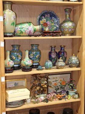 Three Shelves Of Chinese Cloisonne And Decoratives