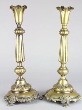 Fraget Polish Judaica Shabbat Candlesticks, Late 19th