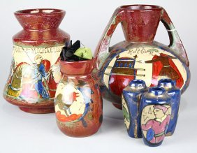(lot Of 4) French Arts And Crafts Studio Pottery Vases,