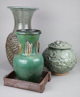 (lot Of 3) American Studio Pottery Ceramic Vases, Late