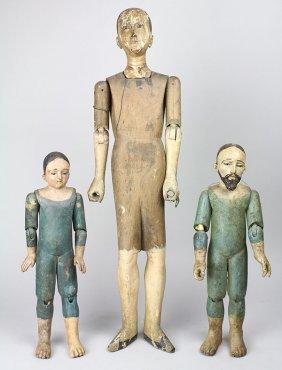 (lot Of 3) Spanish Colonial Religious Santos Figures,