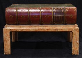 Regency Style Faux-book Form Side Table, With Hinged