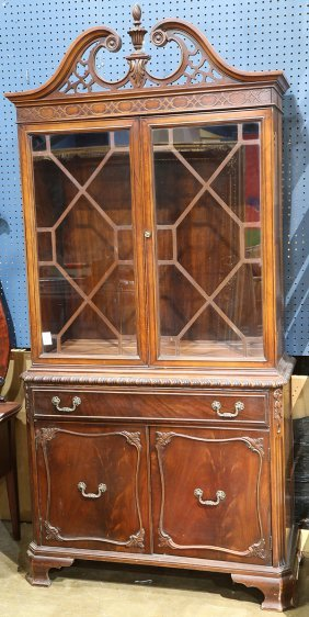 Federal Style Mahogany China Cabinet, Having A Broken