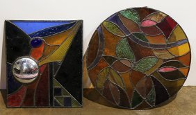 (lot Of 5) Stained Glass Panels