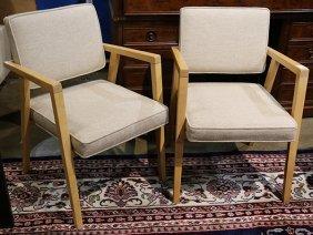 Pair Of Moderne Blonde Wood Armchairs, Each Having