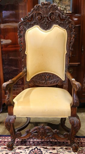 Continental Carved Throne Chair, Circa 1860, Having