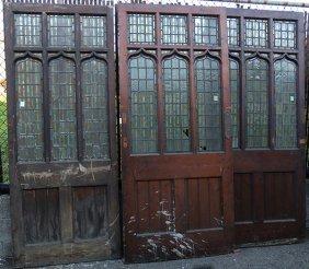 Three Leaded Glass Victorian Gothic Revival Doors Circa