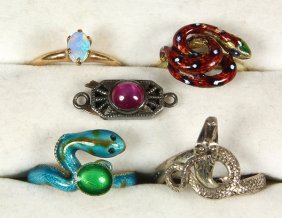 Collection Of Gemstone, Enamel, Gold And Silver Jewelry