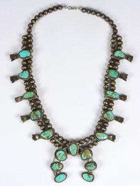 Native American Turquoise Silver Squash Blossom