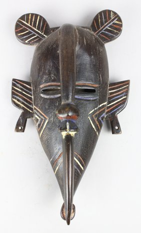 Koulango, Cote D'ivoire Mask With Hornbill Bird Neck To