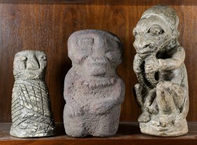(lot Of 3) Pre-columbian Style Carved Stone Figures