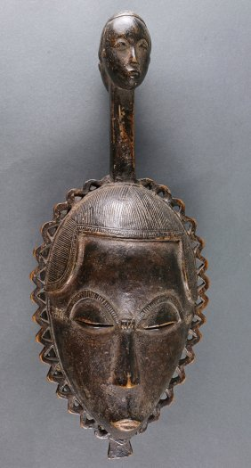 Yaure, Cote D'ivoire, Finely Carved Mask, With An
