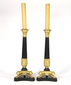 Pair Of Neoclassical Style Ormolu And Patinated Bronze