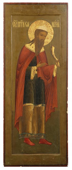 Russian Icon On Panel, Late 19th Century, Hand-painted