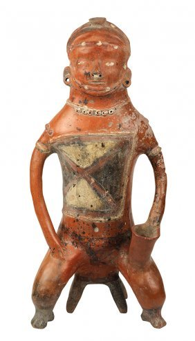 Pre-columbian Colima Polychrome Seated Figure, 200 Bc -