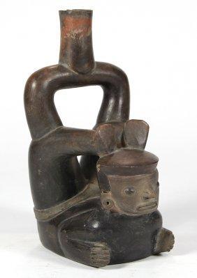 Pre-columbian Peruvian Chavin Acrobat Figural Stirrup