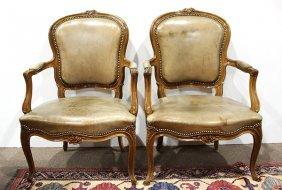 Pair Of Louis Xv Style Walnut Fauteuils