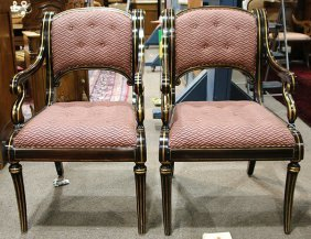 Pair Of Regency Style Armchairs, Each Having A Partial