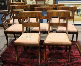 (lot Of 8) Regency Mahogany Dining Chairs