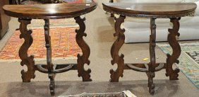 Pair Of Italian Baroque Style Walnut Demi-lune Console