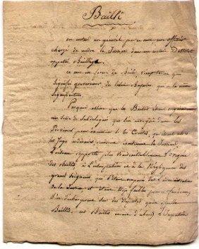 "[france] Circa 1800 Document Titled ""bailli"""