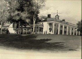 Watercolor Of Mount Vernon