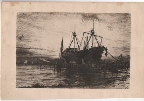 Sunset, Gowanus Bay 1880 Etching