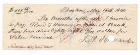 Rare 1840 Document - Roland G. Hazard