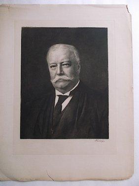 Original Portrait Etching Of William Howard Taft
