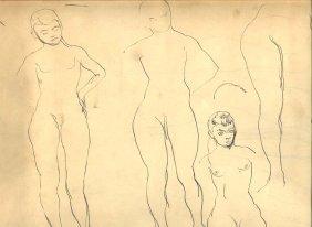 William Baziotes Drawing - Female Nudes