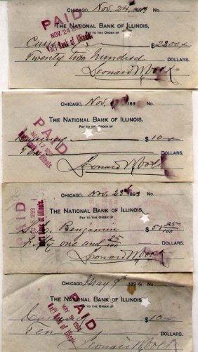 Leonard Volk (1828-1895) 22 Signed Bank Checks