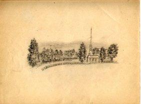 Folk Art Drawing - Haverill Mass Circa 1900