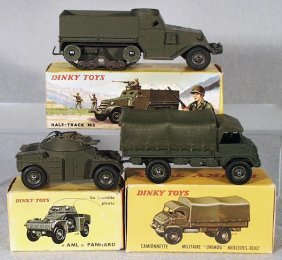 3 FRENCH DINKY MILITARY VEHICLES