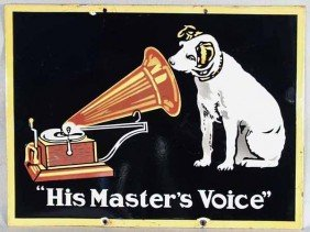 "RCA ""HIS MASTER'S VOICE"" ADVERTISING SIGN"