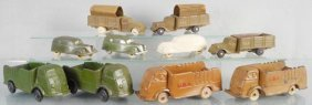 10 Rubber Army Vehicles, 3 Barr Rubber 1935 Ford Stake