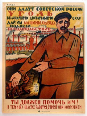 Propaganda Poster They Will Give The Soviet Russia Coal