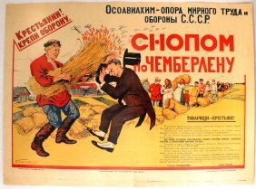Propaganda Poster Hit Chamberlain With A Sheaf