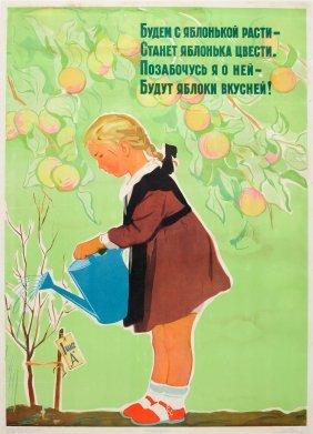 Original Propaganda Poster Growing With An Apple Tree
