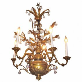 Continental Bronze And Crystal Five-light Chandelier.