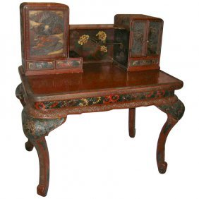 Japanese Hand Carved Polychrome Lacquer Two Part Desk.