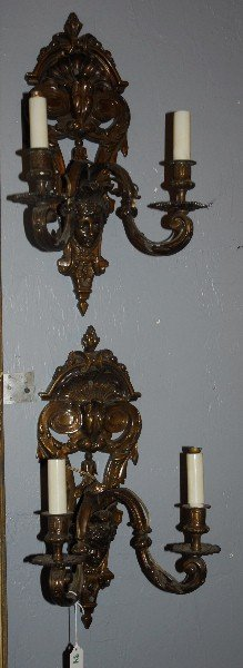 "Pair Bronzed Two Light Wall Sconces. H: 18"" W: 11"" D:"
