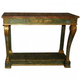 19th C. French Painted And Partial Gilt Marble Top