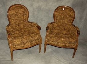 """Pair Of Louis Xvi Style Carved Bergeres. H: 37"""" W:"""