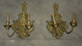 """Pair Of Two-light Carved Wood Wall Sconces. H: 16"""" W:"""