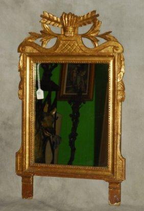 "Louis Xvi Style Carved Gilt-wood Mirror. H: 32"" W: 20"""