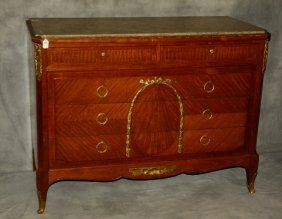Louis Xv Style Bronze Mounted Marble Top Commode. H: