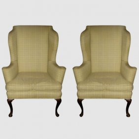 "Pair Of Queen Anne Style Wing Chairs. H: 45.5"" W: 33"""
