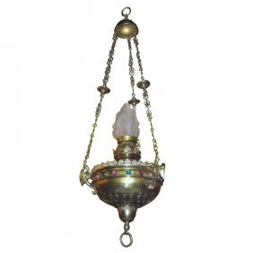 "Moroccan Style Jeweled Brass Chandelier. H: 48"" D: 16"""