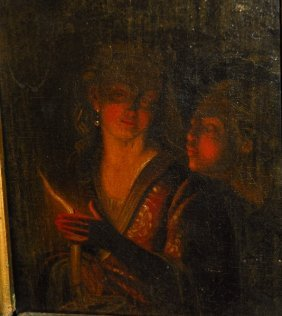 19th C. Oil On Canvas, Blowing Out The Candle. Sight